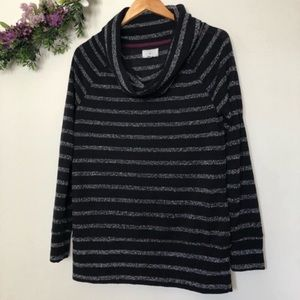 Lou & Grey Black Stripped Cowl Neck Sweater Size S